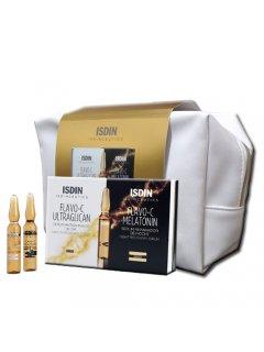 Isdin Isdinceutics Flavo-C Ultraglican Set - Набор сывороток для лица день и ночь