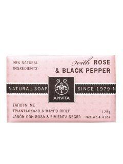 Natural Soap Rose & Black Pepper Апивита - Натуральное мыло с экстрактом розы и черного перца