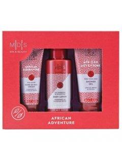 "Mades Cosmetics African Advanture (s/g/150ml + b/lot/250ml + h/cr/100ml) - Набор-трио в роскошной коробке ""Африканские Приключения"""
