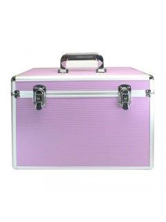 Сosmetic Сase A28-PINK Мейк Ап Ми - Профессиональный алюминиевый кейс для косметики без полок розовый A28