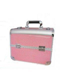 Сosmetic Сase  A72-PINK-GL Мейк Ап Ми - Алюминиевый кейс для косметики на 4 полки A72 ярко-розовый лаковый