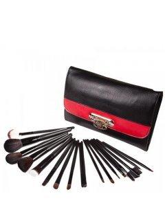 Brushes Set BR18 Мейк Ап Ми - Набор кистей на 18 шт черный с красным