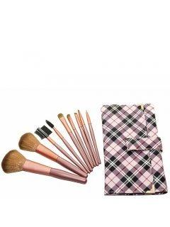 Brushes Set GP9 Мейк Ап Ми - Набор кистей 9 шт в розовом клетчатом чехле