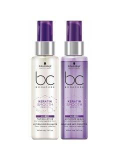 Schwarzkopf BC Bonacure Keratin Smooth Perfect Layering Treatment Duo - Двухступенчатый крем-уход с термо защитой волос